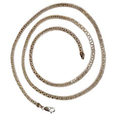 Sterling silver herringbone chain necklace thirty inches long