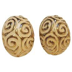 Ciner white enamel clip earrings Mod design