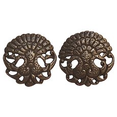 800 Silver double headed peacock dress clips