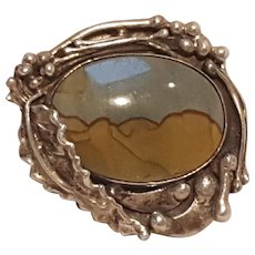 Sterling silver picture jasper pin hand crafted Stan B