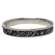 Georg Scheid silver black enamel hinged hollow bangle Japanesque Vienna