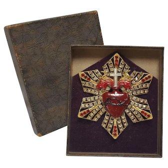Enamel rhinestone flaming sacred heart ExVoto Milagros memorial presentation piece