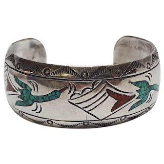 J Nezzie Navajo sterling silver turquoise coral cuff bracelet Peyote bird