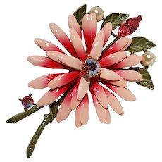 Lisner enamel rhinestone flower pin pink aurora borealis