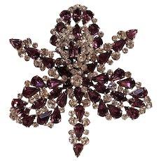 Schiaparelli rhinestone orchid pin purple three dimensional