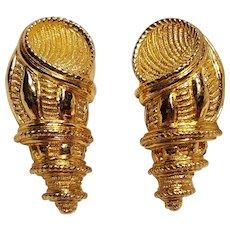 Christian Dior shell clip earrings heavily embossed figural