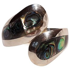 Sterling silver bypass abalone inlay clamper bracelet