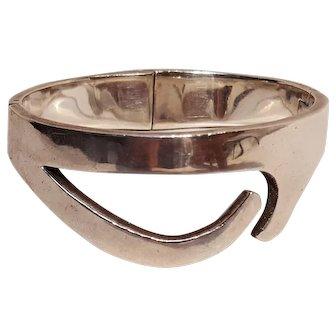 Taxco sterling silver hinged bracelet heavy Modern design