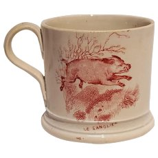 Antique childs red transferware mug fox and wild boar Aesop's fable pearlware