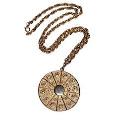 Napier zodiac pendant necklace embossed design