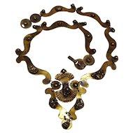 Seppo Tamminen bronze necklace Brutalist hand crafted Finland