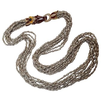 Ciner red enamel horse head clasp necklace baroque pearls seven strand