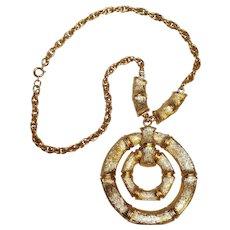 Napier bamboo door knocker pendant necklace vintage