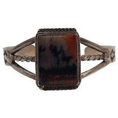 Southwest sterling silver picture Jasper stone cuff bracelet