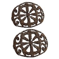 Antique cut steel shoe buckles France individually riveted