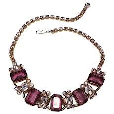 Juliana emerald cut purple and lavender rhinestone necklace
