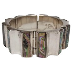 Taxco Mexico sterling silver bracelet JJC abalone inlay seven hinged plaques Modernist