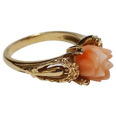14K Yellow gold carved coral rose bud ring