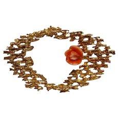 14K Gold coral rose bud pin Modern Brutalist design