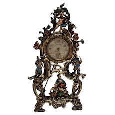 Taylor sterling silver miniature mantle clock pin dollhouse miniature