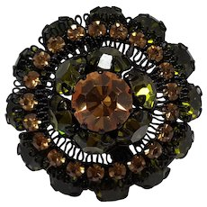 Austria rhinestone pin Japanned finish lace like  filigree