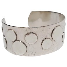 Sterling silver cuff bracelet hand crafted hammered and dots