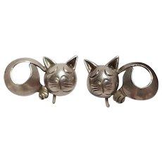 Sterling silver Mexico cat screw back earrings Parna eagle 34