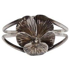 Nye sterling silver pansy flower cuff bracelet