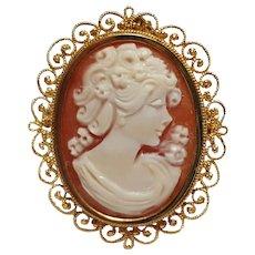14K Yellow gold cameo pin pendant filigree frame