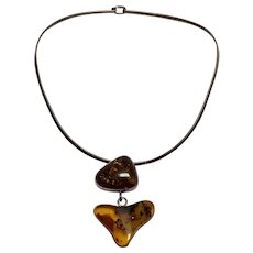 Sterling silver Mexico choker necklace with Baltic amber pendant