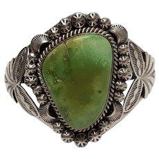 M. Spencer Navajo sterkling silver cuff bracelet green stone