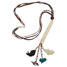 Hobe necklace carved bone bead and carved stone fish cat