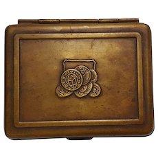 Bradley & Hubbard small brass trinket box repousse design
