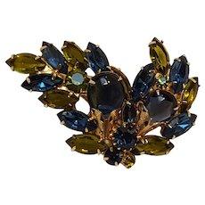 Rhinestone pin glass cabochon blue green navettes  filigree caps
