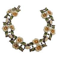 Coro Adolph Katz enamel rhinestone flower bracelet pot metal