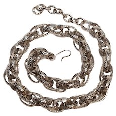 Monet embossed link rope necklace silver tone