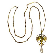 14K Gold Krementz enamel Art Nouveau pearl drop pendant 10K chain