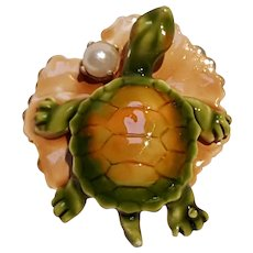 Original by Robert enamel turtle on a lily pad pin