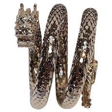 Whiting Davis serpent dragon coil mesh wrap bracelet