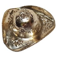 800 Silver hat pill box compact floral with scenic lid
