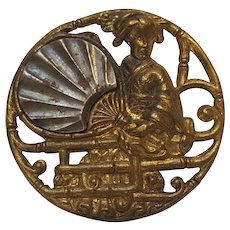Antique Asian geisha girl button brass steel fan