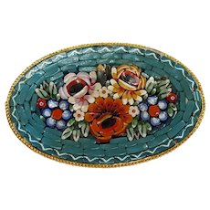 Italian mosaic pin floral on light blue