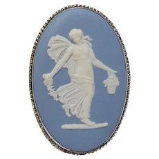 Wedgwood blue jasperware sterling silver pin dancing hour