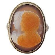 14K white gold filigree hard stone double cameo ring