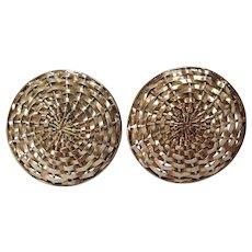 Forbes sterling silver clip earrings woven basket weave design