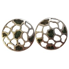 Miguel Melendez sterling silver spiderweb mosaic earrings Taxco Mexico