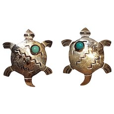 Navajo sterling silver turquoise turtle earrings M Willie Joe Delgarito