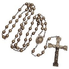 Sterling silver rosary Mary Jesus center medal ornate crucifix