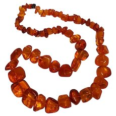 Chunky natural Baltic Amber chip bead necklace