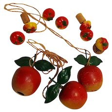 Carved wood apples shade pulls and plastic push pins